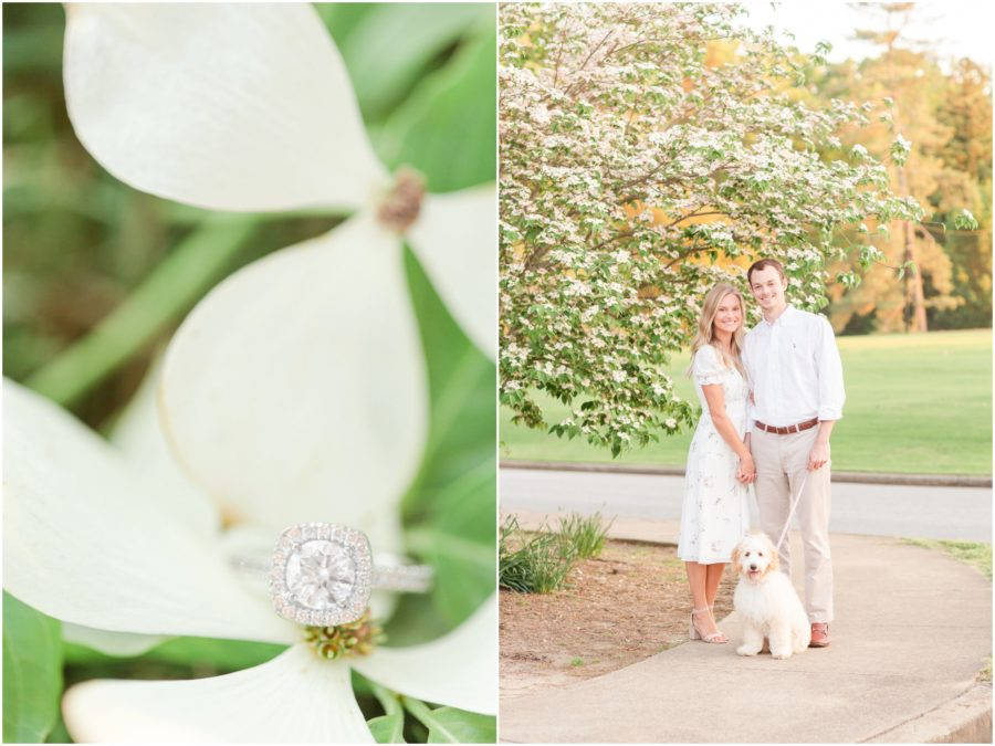 Preppy Greenville, SC engagement session with dog at Falls Park and Furman University by SC wedding photographer Christa Rene Photography