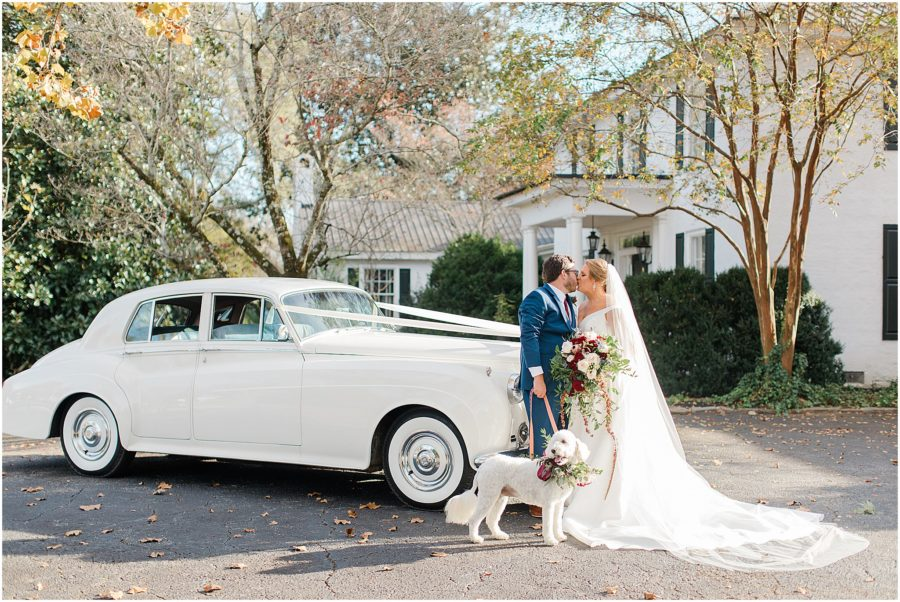 Classic outdoor wedding with Rolls Royce and dog at The Barn at Sitton Hill Farm by SC Wedding Photogapher Christa Rene Photography